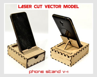 Cell Phone Stand, plywood cell phone holder, cell phone stand laser model, cell phone docking stand, portable cell phone stand, phone holder