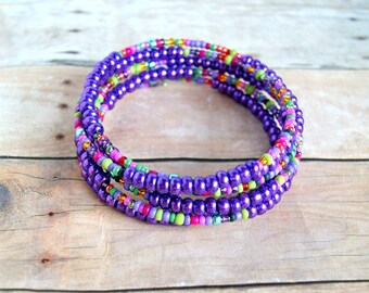 boho bracelet, wrap bracelet, colorful jewelry, boho jewelry, bead bangle, gift for her