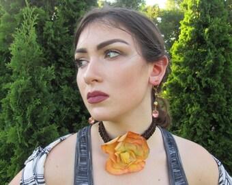 Vintage made floral choker necklace