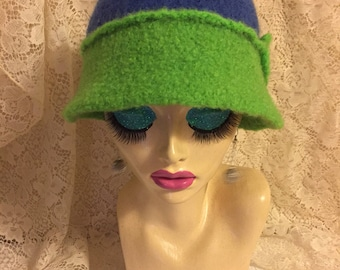 Royal Blue & Lime Green Vintage Inspired Crocheted Felted Cloche Flapper Hat 'Molly'