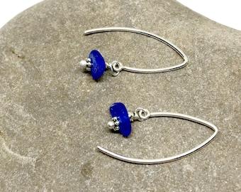 Sea Glass Earrings, Blue Glass Earrings, Lake Erie Beach Glass Jewelry, Seaglass, Sea Glass Jewelry, Vinctage Glass Earrings