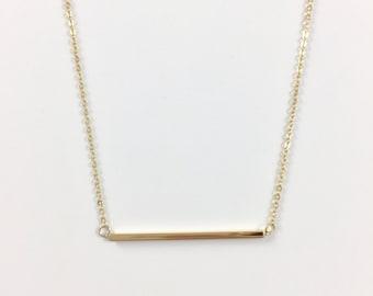14K Simple Bar Necklace