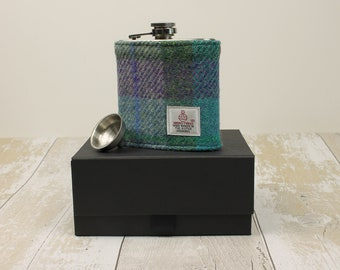 Hip Flask Groomsmen Gifts Best Man Gifts Wedding Flask Harris Tweed Flask Wedding Hip Flask Fathers Day Gift Gifts for Him Green PurpleCheck