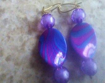 Beautiful blue and Purple handmade earrings