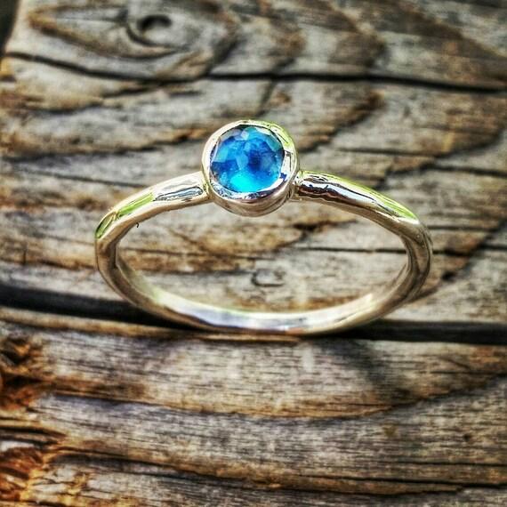 London Blue Topaz Sterling Silver Ring, Blue Topaz White Gold Stacking Ring, December Gemstone, Mother's Ring