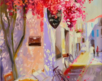 LA BICYCLETTE art print of original oil painting, street scene, purple and yellow, pink bougainvillea