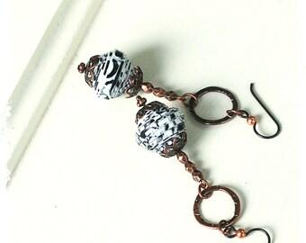 Gypsy Earrings, Boho Dangle Earrings for Women, Black White Earrings, Boho Tribal Earrings, Gift for Coworker, Everyday Earrings for Women,