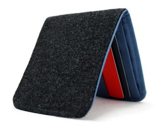 Mens Wallet / Minimalist Billfold / Dark Grey Wool