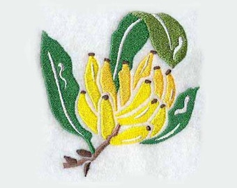 Banana Woodcut Tea Towel | Embroidered Towel | Embroidered Kitchen Towel | Embroidered Hand Towel | Embroidered Tea Towel | Birthday Gift
