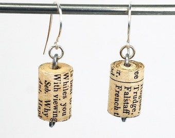 Shakespeare Jewelry- Upcycled Shakespeare Paper Bead Earrings, Paper Bead Jewelry, Paper Jewelry, Book Lover Gift by Tanith Rohe