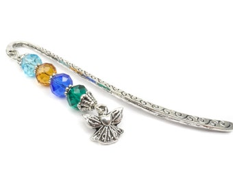 Birthstone Bookmark: Beaded Angel Book Mark, Personalized Gift For Mom