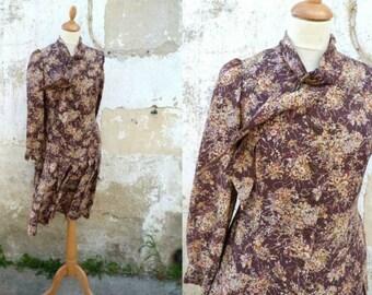 Vintage 1980 /80s dress floral 50 inspired size M