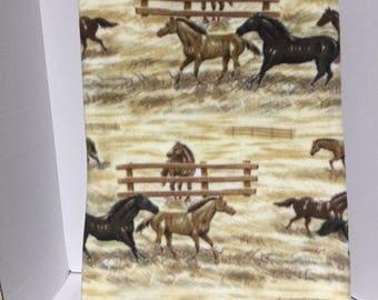 """Horses - Running- Fleece Lap Quilt / Throw  ( 57"""" H x 60"""" W )  Hand Made New"""