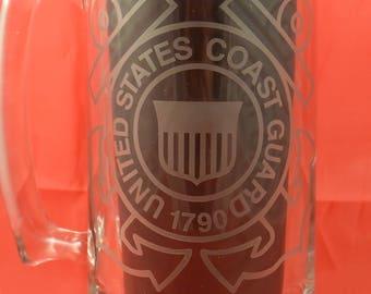 US COAST GUARD  Custom made - Etched Beer Mug - 25 oz. - 7 inches tall