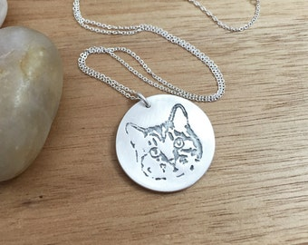 Custom Cat Necklace Eco Friendly Recycled Silver Personalized Pet Keepsake Jewelry Pet Portrait Memorial Jewelry Cat Lover Necklace