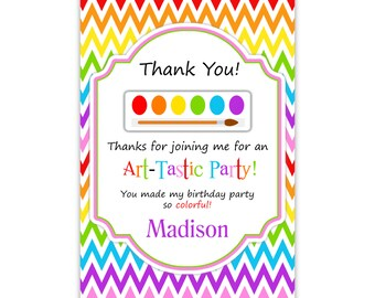 Artist Thank You Card - Rainbow Chevron, Purple Red Yellow, Artist Paint Brush Personalized Birthday Party Thank You, Digital Printable File