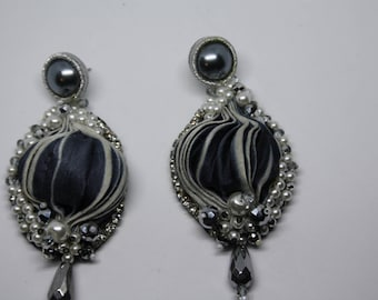 Grey Silk Earrings