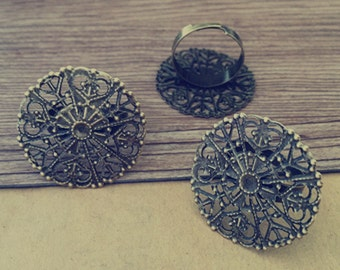 6pcs Adjustable antique bronze circular ring Blanks  31mm