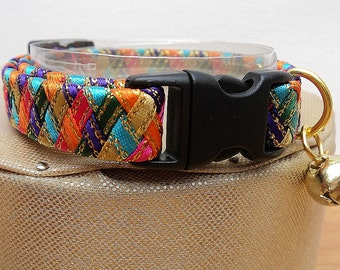 Designer Cat Collars with a Colourful Harlequin Pattern ( Breakaway )