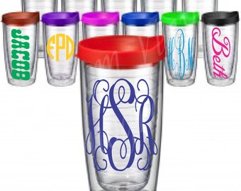Monogrammed 16 oz Double Wall Insulated Clear Acrylic Tumbler With Colored Lid / Monogrammed Tumbler / Personalized Cup / Monogrammed Cup