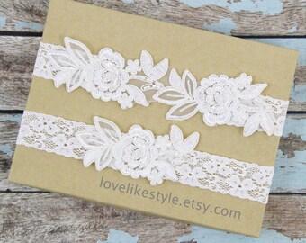 Wedding Garter Set, Ivory  Embroidery Flower Lace Wedding Garter Set, Ivory Garter Set, Toss Garter  / GT-34A