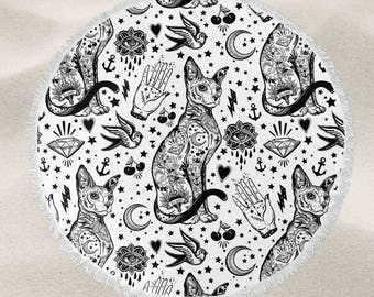 Tattoo cat flash over-sized round beach towel