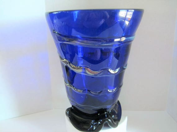 Mid Century Vase, Cobalt Art Glass, Hand Blown with Pontil, Fused Glass Clear Swirls, Cobalt Collectible
