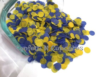 Tissue Paper Confetti, confetti throw, baby shower decor, blue yellow confetti, wedding reception, birth announcements, circle confetti