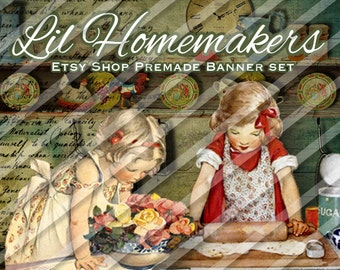 """Etsy Shop Banner Set - Premade Shop Banner Set - Avatars - Facebook - """"Lil Homemakers"""""""