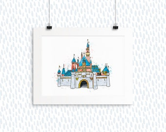 Sleeping Beauty's Disneyland Castle Watercolor Print, Hand-painted, Castle, Anniversary Gift, Disney, Hand-lettering, Watercolor, Romantic