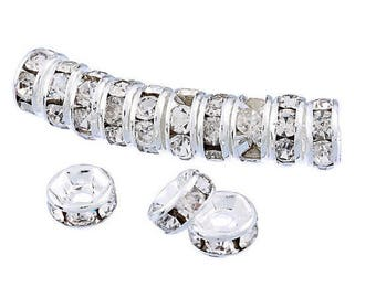 50 pieces - 5mm Silver Rhinestone Spacers Beads