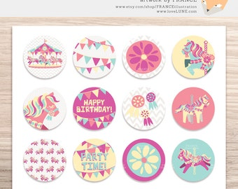 SALE. Printable Collage Sheet, 1 & 2 inch circles. Carousel Pony, Happy Birthday, Bunting. Cupcake Topper, Jewelry Art, Scrapbooking. Horse.