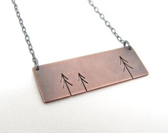 Rectangle Copper Three Pine Trees Tree Art pendant - made to order