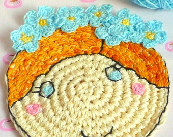 Crochet Blue Flower Coaster - Drink Coaster - Hand Embroidered Coaster - Gift for Mom - Gift under 20 - Hand Crochet Coaster
