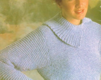 Vintage Knitting Pattern - Women's Ladies Sweater or Pullover - 80's - Instant download PDF - retro sweater