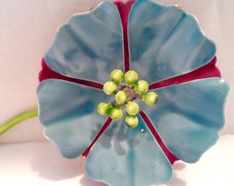 Vintage Aqua Blue and Hot Pink Enamel Flower Brooch Pin Mod Flower Jewelry Enamel and Metal Brooch Flower Power