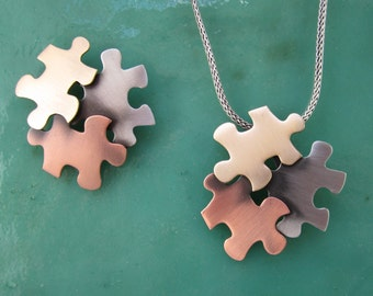 Autism Awareness Brooch- Autism Jewelry- Autism Necklace- Puzzle- mixed metal jewelry