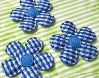 LOT 5 flower embelishment Blueberry 35mm 132 white gingham fabric
