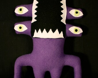MINI PLUSH MONSTER Walter in Purple with Four Eyes and Buttcheeks