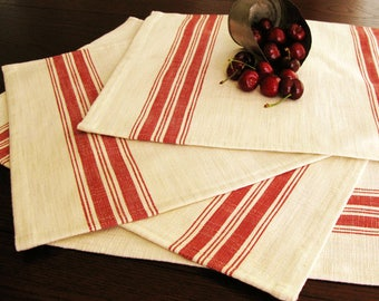 Farmhouse Grain Sack Placemats - Grainsack Placemats - Natural and Red Stripe