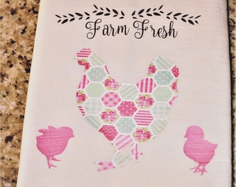 Quilt Pattern Chicken and Chicks Kitchen Towel- Flour sack Towel - Gift - Farmhouse - Kitchen Decor - Home Decor - Chickens