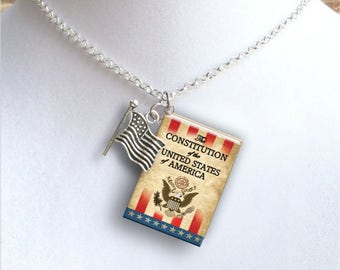 The Constitution of the United States -Vintage Cover With Tiny Flag Charm - Miniature Book Necklace