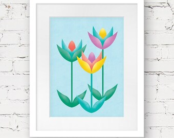scandinavian flower art print, floral printable, kids downloadable art, printable nursery art, flowers printable, girls room printable