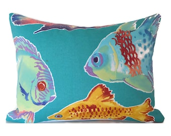 Outdoor Lumbar Pillow Cover ANY SIZE Decorative Pillow Cover Fish Pillow Turquoise Pillow Outdoor Pillow Cover Richloom Outdoor Kiley Lagoon