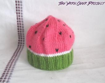PATTERN - Knit Pattern for Watermelon Baby Hat - Knit Watermelon Hat - Knit Baby Hat - Knitting Pattern - Knit Baby Pattern