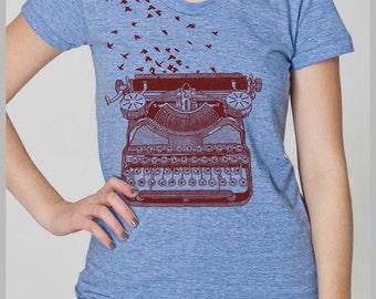 Typewriter Birds Writer's Inspiration Women's T Shirt Freedom of Speech Unique Theme Gift American Apparel Tee s, m, l, xl 8 colors IR4
