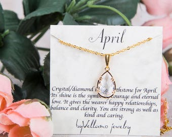 April Crystal birthstone, Gold Teardrop Necklace, Crystal Drop Gold Necklace, April Birthstone Jewelry Personalized Gold Bridesmaid Necklace