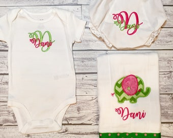 Monogrammed Baby Girl Gift Set, burp cloth and onesie monogram baby gift set, monogram baby girl gift, baby girl gift set, girl monogram