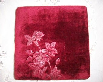 Spectacular deep ruby red velvet box with old-fashioned roses