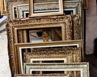 Paris Photography, Antique Frames in Paris, Golden Brown, Flea Market Shopping in Paris, Golden Brown, French Market,Autumn Hues